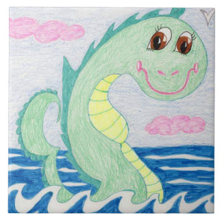 Albert The Sea Serpent Large Square Tile