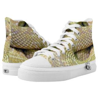 Albino Snake Print High Top Shoes