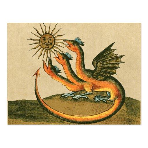 alchemy postcard - golden dragon and sun - sepia