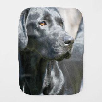 Alert Black Labrador Retriever Dog Burp Cloth