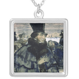 Alexander Pushkin  on the Neva Embankment Silver Plated Necklace