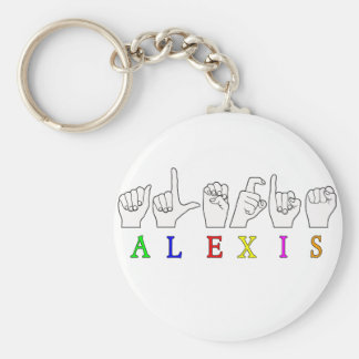 ALEXIS FINGERSPELLED ASL SIGN NAME FE MALE BASIC ROUND BUTTON KEY RING