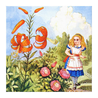 Alice Encounters Talking Flowers in Wonderland Canvas Print