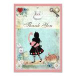 Alice, Flamingo & Cat Baby Shower Thank You 9 Cm X 13 Cm Invitation Card