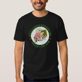 Alice Glimpses Wonderland Through a Tiny Door! T-shirts
