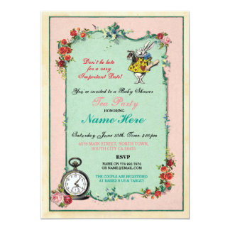 Alice In Wonderland Baby Shower Pink Invitation