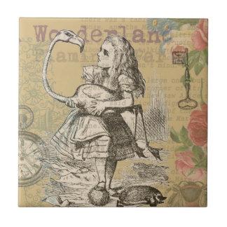 Alice in Wonderland Flamingo Vintage Small Square Tile