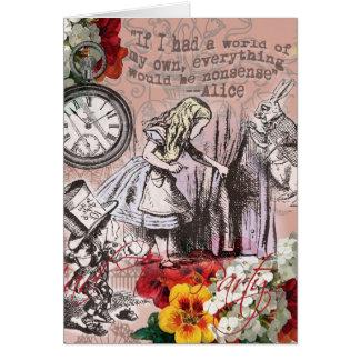 Alice in Wonderland Mad Hatter White Rabbit Card