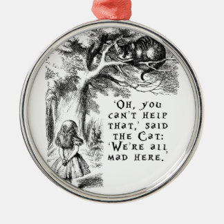 Alice in Wonderland - We're all mad here Silver-Colored Round Decoration
