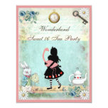 Alice, Pink Flamingo & Cheshire Cat Sweet 16 Custom Announcement