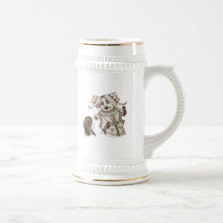 Alice & the Queen by Lewis Carroll Sepia Tint Beer Stein