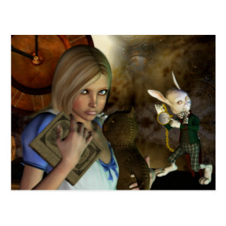 Alice & The White Rabbit Postcard
