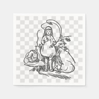Alice with Caterpillar and White Rabbit Disposable Serviette