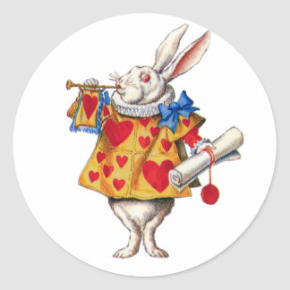 ALICE'S WHITE RABBIT IN WONDERLAND ROUND STICKER