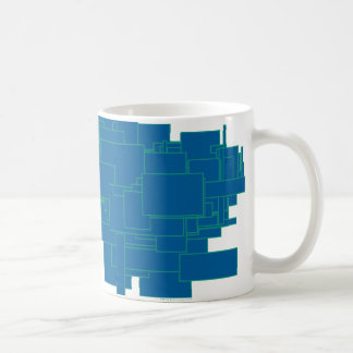 Alien art architecture squares abstract blue maze coffee mug