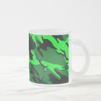 Alien Green Camo Frosted Glass Coffee Mug