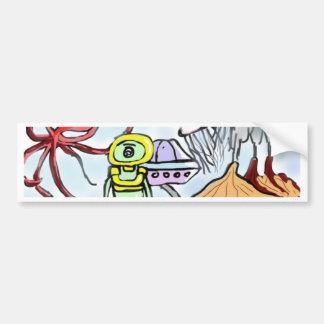 Alien Hunting Sunken Treasure Bumper Sticker