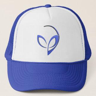 Alien Mascot in Blue Trucker Hat