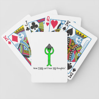 Alien wearing a tin foil hat deck of playing cards