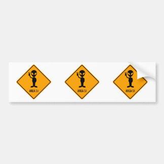 Aliens Area 51 Roswell Yellow Diamond Warning Sign Bumper Sticker