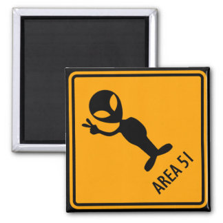 Aliens Area 51 Roswell Yellow Diamond Warning Sign Magnet