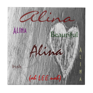 Alina Name Irish Meaning with Light Grey Heart Ceramic Tiles