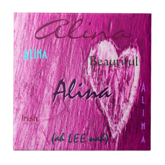Alina Name Irish Meaning with Light Pink Heart Tiles