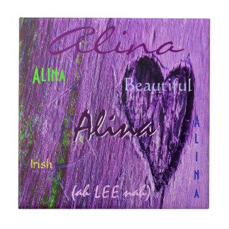 Alina Name Irish Meaning with Purple Heart Ceramic Tile