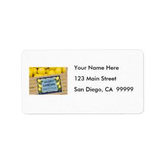 Aliso Lemons in a Crate Address Label