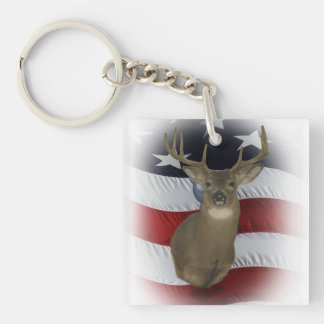 All American Deer Hunter Acrylic Keychain