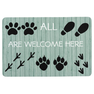 All are welcome here footprints - Floor Mat