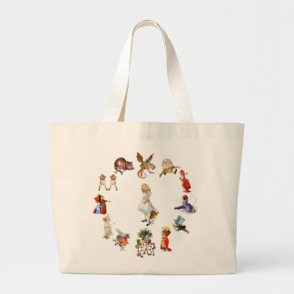 All Around Alice in Wonderland Large Tote Bag