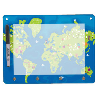 All Around the World Dry Erase Board With Key Ring Holder