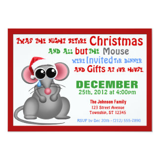 "All but the Mouse - Christmas Dinner Invitations 5"" X 7"" Invitation Card"