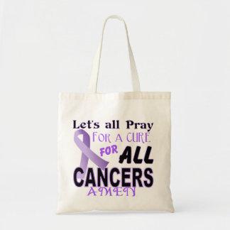 All Cancer Purple Ribbon Tote Bag