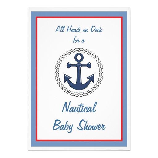 All Hands Nautical Baby Shower Invitations 13 Cm X 18 Cm Invitation Card
