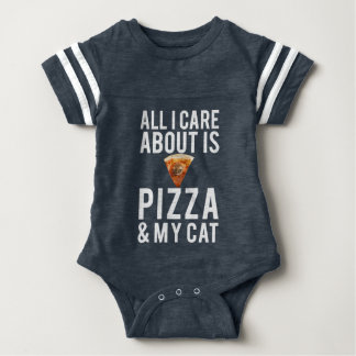 All i care about is pizza & my cat baby bodysuit