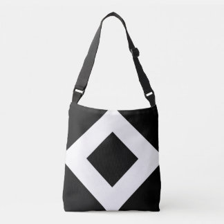 All-Over-Print Black Diamond, Bold White Border Crossbody Bag