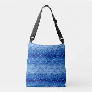 All-Over-Print Blue Watercolor Scale Pattern Crossbody Bag