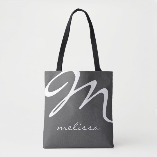 all-over-print grey medium tote bag with name