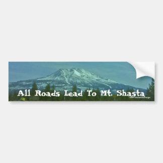 """All Roads Lead To Mt. Shasta"" Car Bumper Sticker"