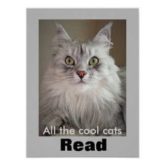 All the Cool Cats Read (Literacy Poster) Poster
