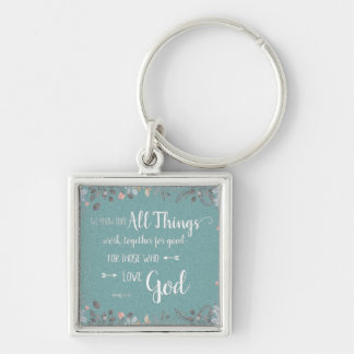 All Things Work Together - Rom 8:28 Silver-Colored Square Key Ring