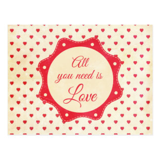 All you need is love postcard