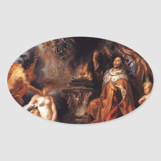 Allegory of the Peace of Westphalia Jacob Jordaens Oval Sticker