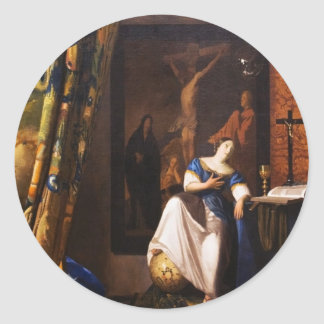 Allegory on Faith by Johannes Vermeer Classic Round Sticker