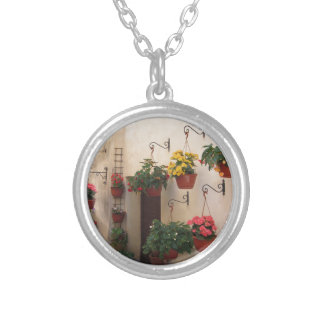 Alley with flowers in old village of Spello, Italy Silver Plated Necklace