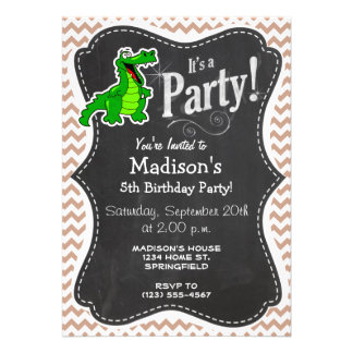 Alligator Brown Chevron Custom Invitation