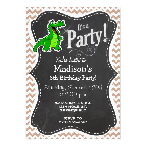 Alligator; Brown Chevron Custom Invitation