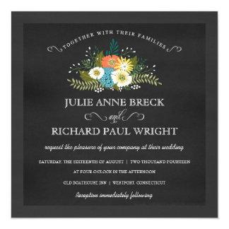 Alll Seasons Floral Chalkboard Wedding Invitations